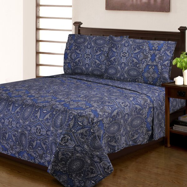 Burkes 300 Thread Count Paisley 100% Cotton Sheet Set by Fleur De Lis Living